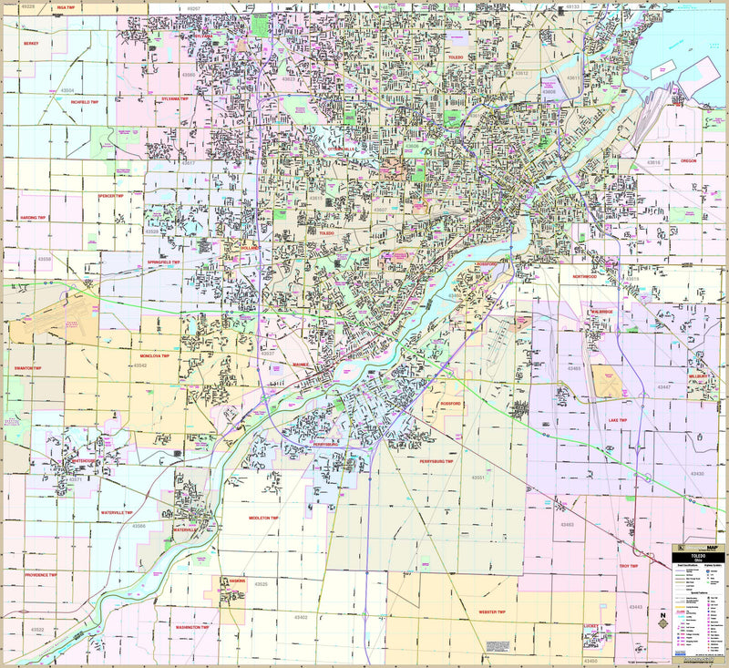 Toledo, OH Wall Map