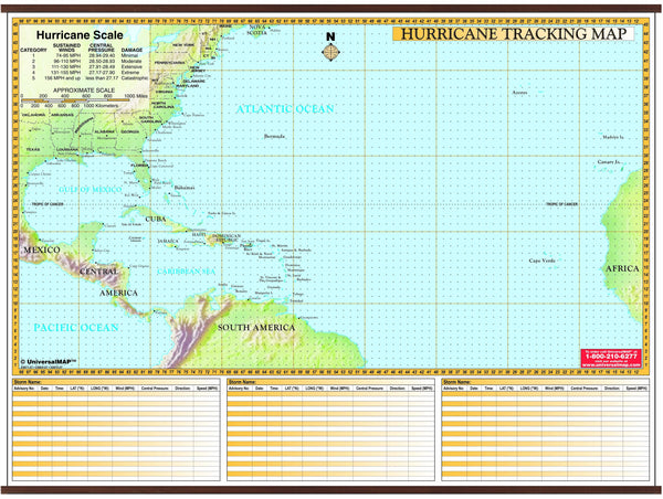 Hurricane Tracking Chart Wall Map