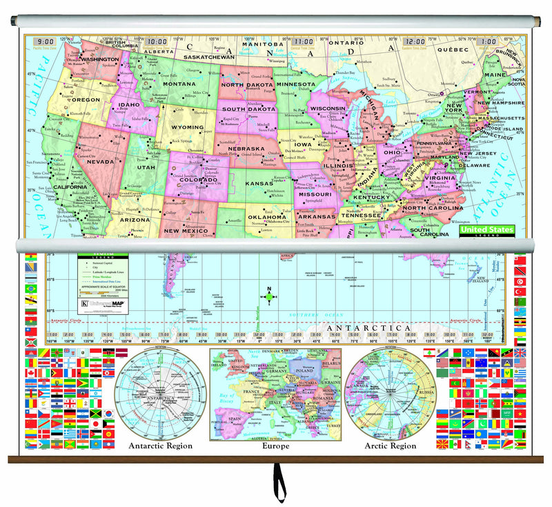 US/World Primary Combo Classroom Wall Map on Roller