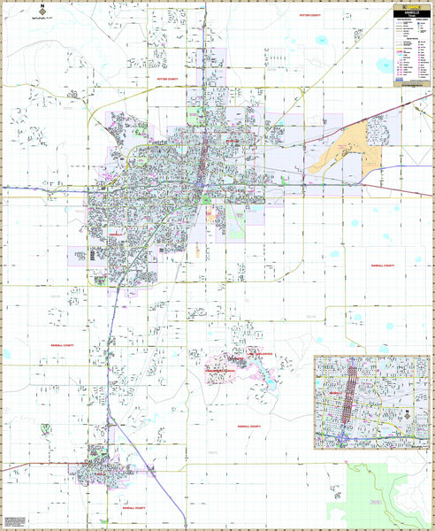 Amarillo, TX Wall Map