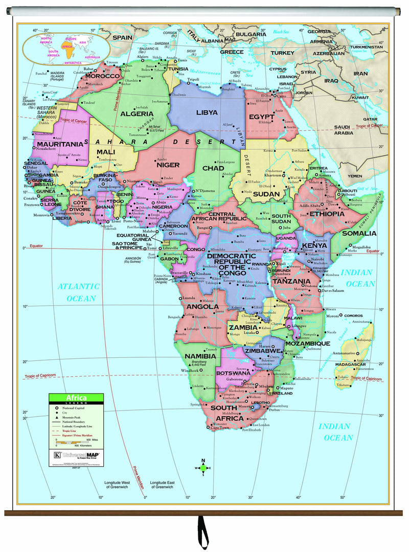 Africa Primary Classroom Wall Map on Roller