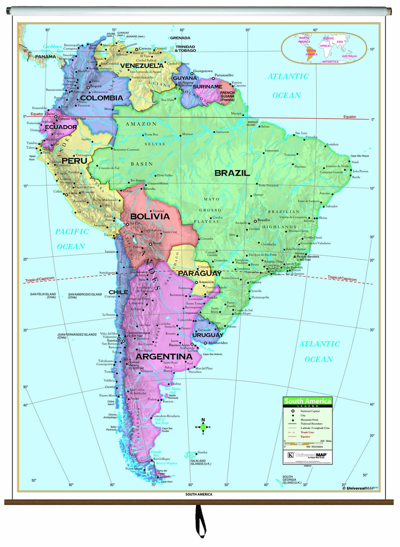 South America Primary Classroom Wall Map on Roller