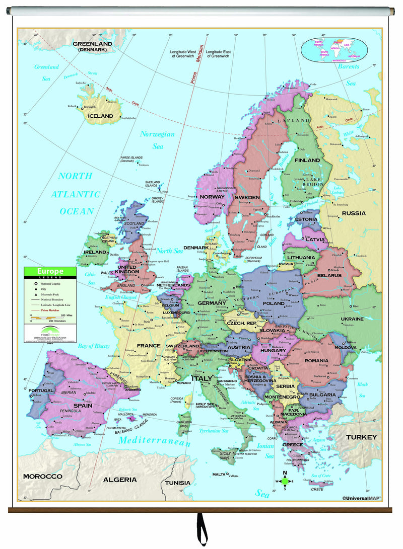 Europe Primary Classroom Wall Map on Roller