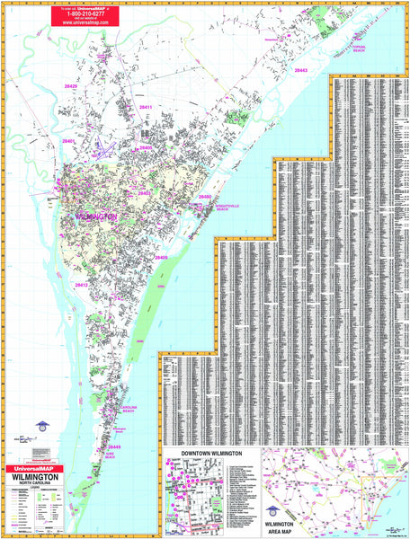Wilmington, NC Wall Map