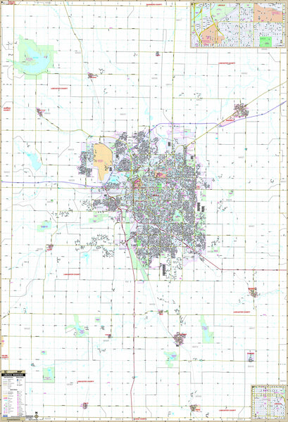 Lincoln, NE Wall Map