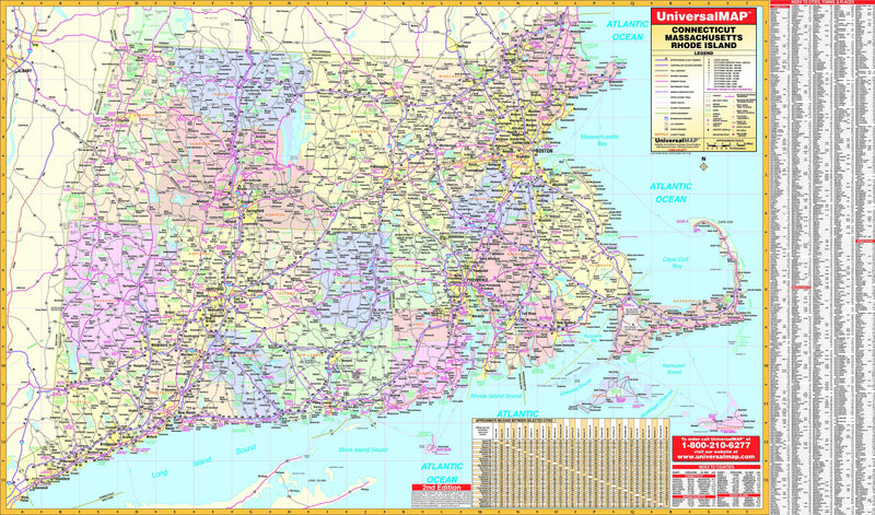 Connecticut, Rhode Island & Massachusetts State Wall Map