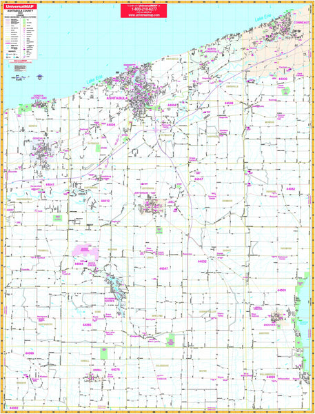 Ashtabula, OH Wall Map