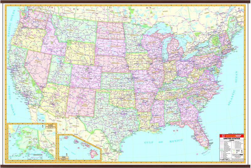 US Interstate Wall Map