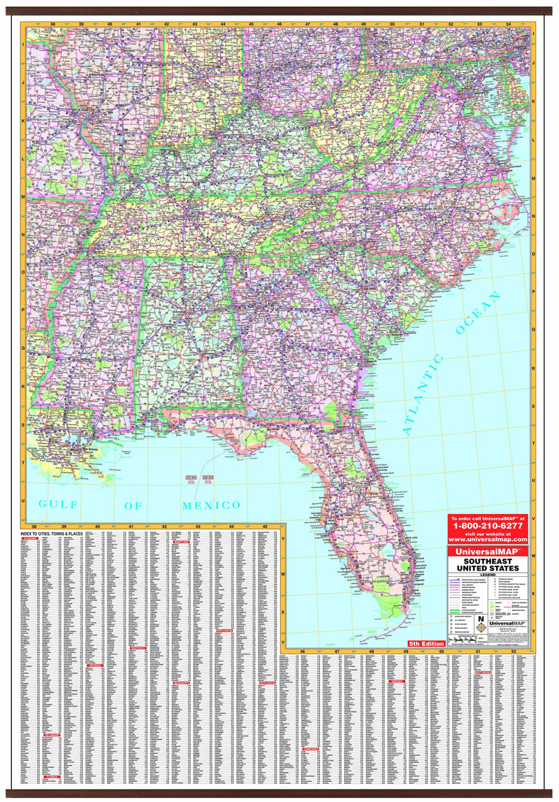 US Southeastern & Virginia Wall Map