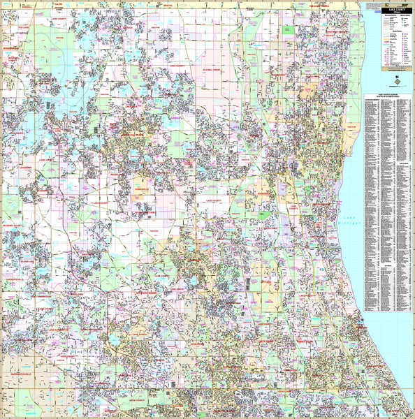 Lake County, IL Wall Map