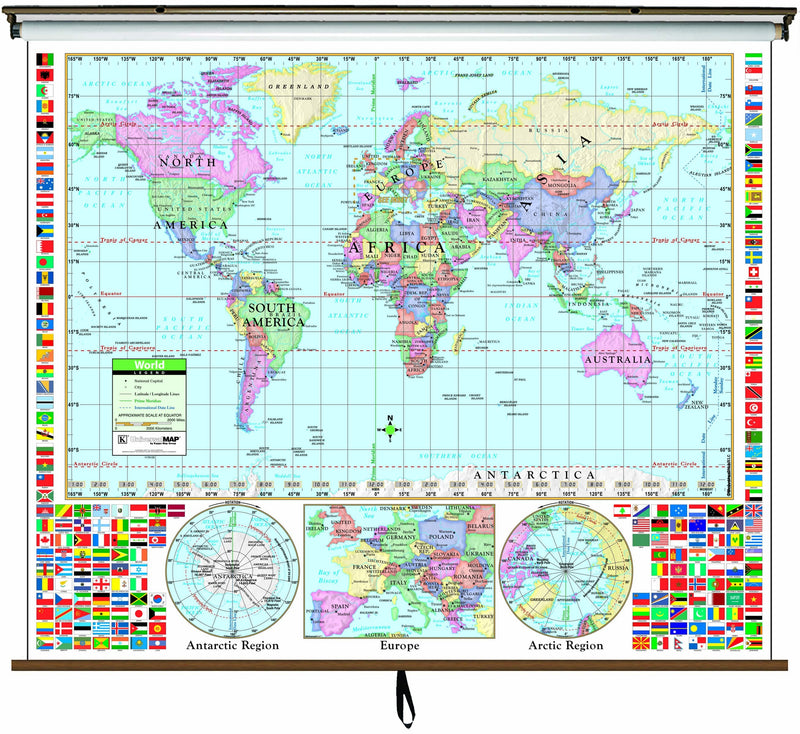 World Primary Classroom Wall Map on Roller w/ Backboard