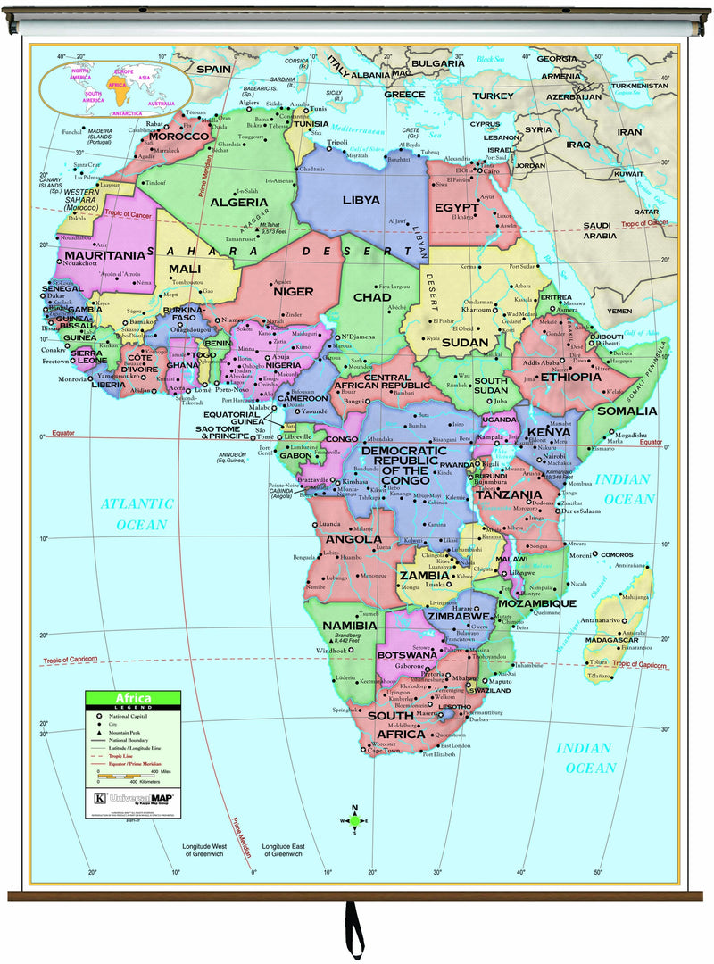 Africa Primary Classroom Wall Map on Roller w/ Backboard