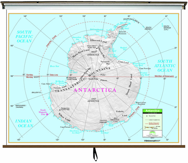 Antarctica Primary Classroom Wall Map on Roller w/ Backboard