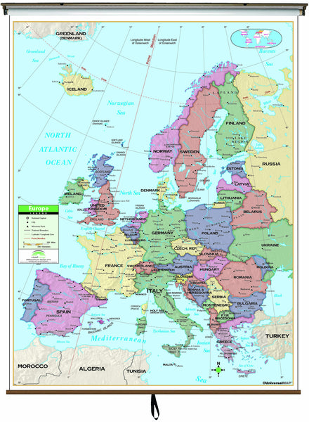 Europe Primary Classroom Wall Map on Roller w/ Backboard