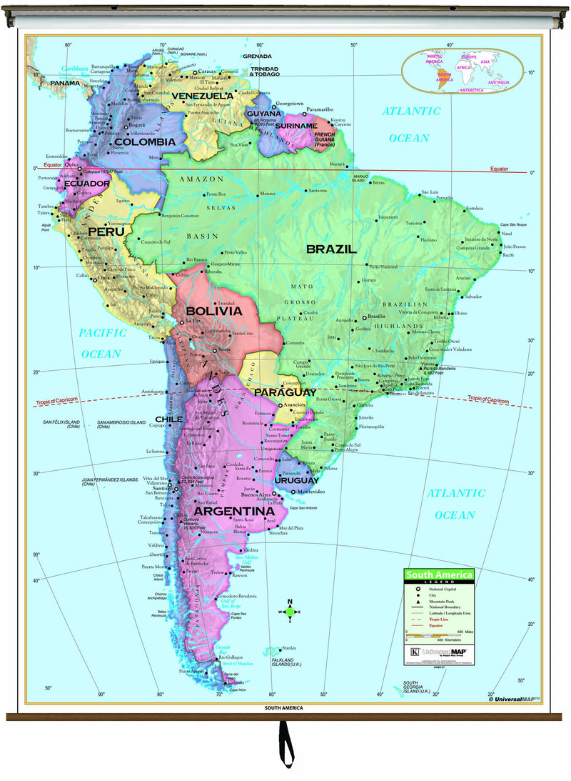 South America Primary Classroom Wall Map on Roller w/ Backboard