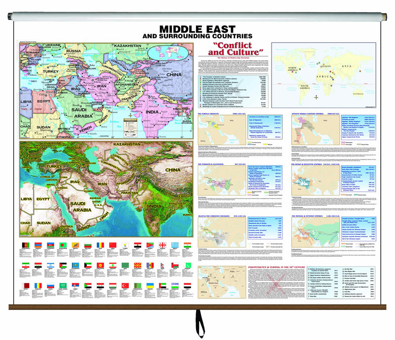 Middle East Historic Wall Map (With Spring Roller)