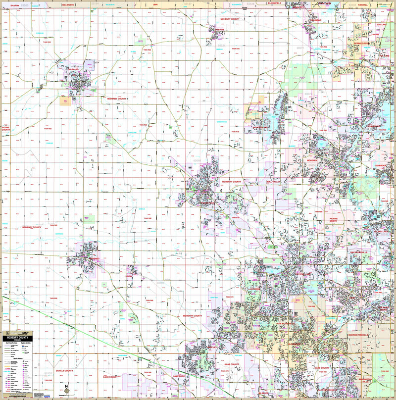 McHenry County, IL Wall Map