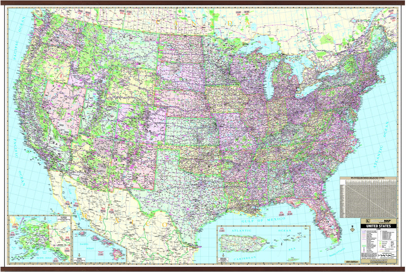 US Large Scale Wall Map (77 x 54)