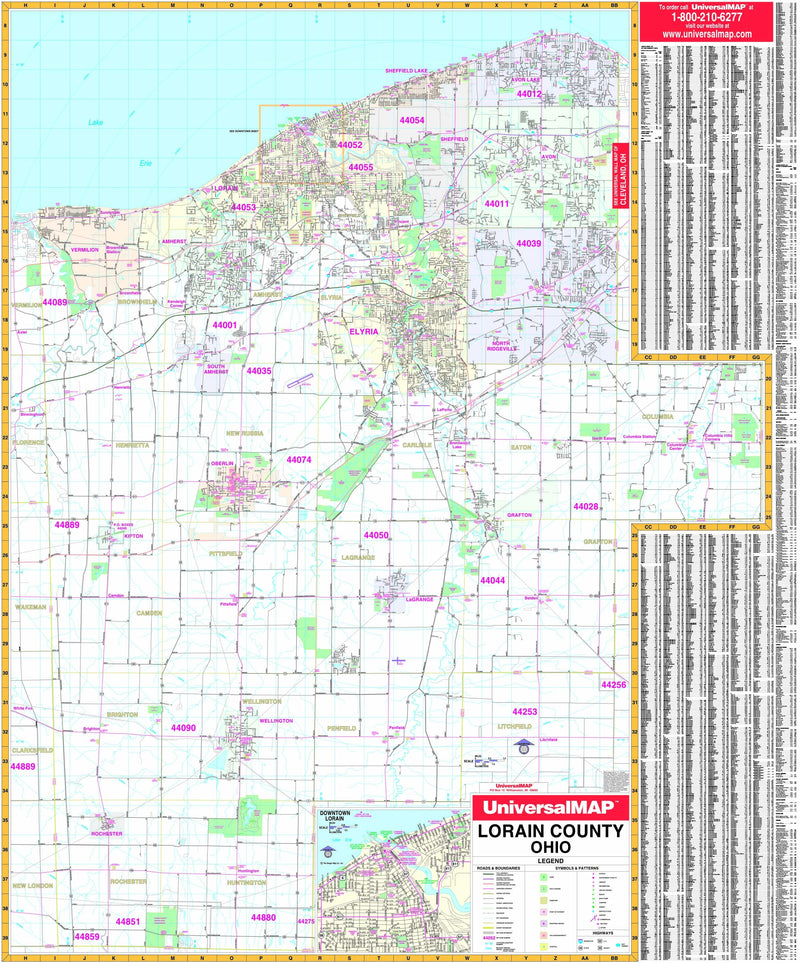 Lorain County, OH Wall Map