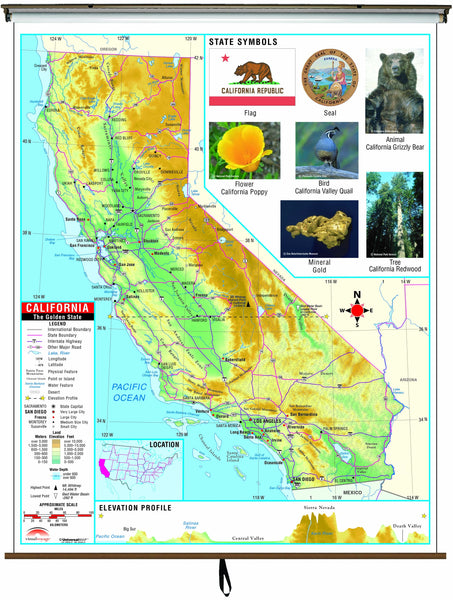California State Primary Thematic Wall Map on Roller w/ Backboard