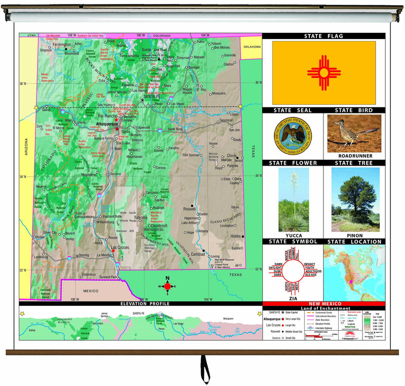 New Mexico State Primary Thematic Wall Map on Roller w/ Backboard