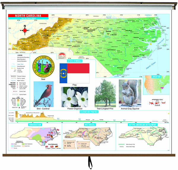 North Carolina State Primary Thematic Wall Map on Roller w/ Backboard