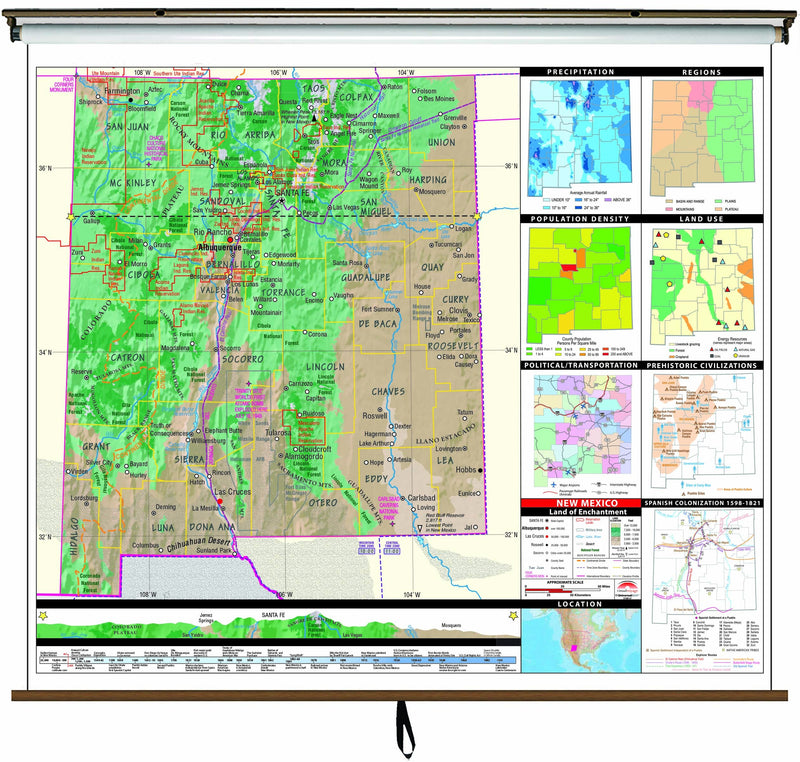 New Mexico State Intermediate Thematic Wall Map on Roller w/ Backboard