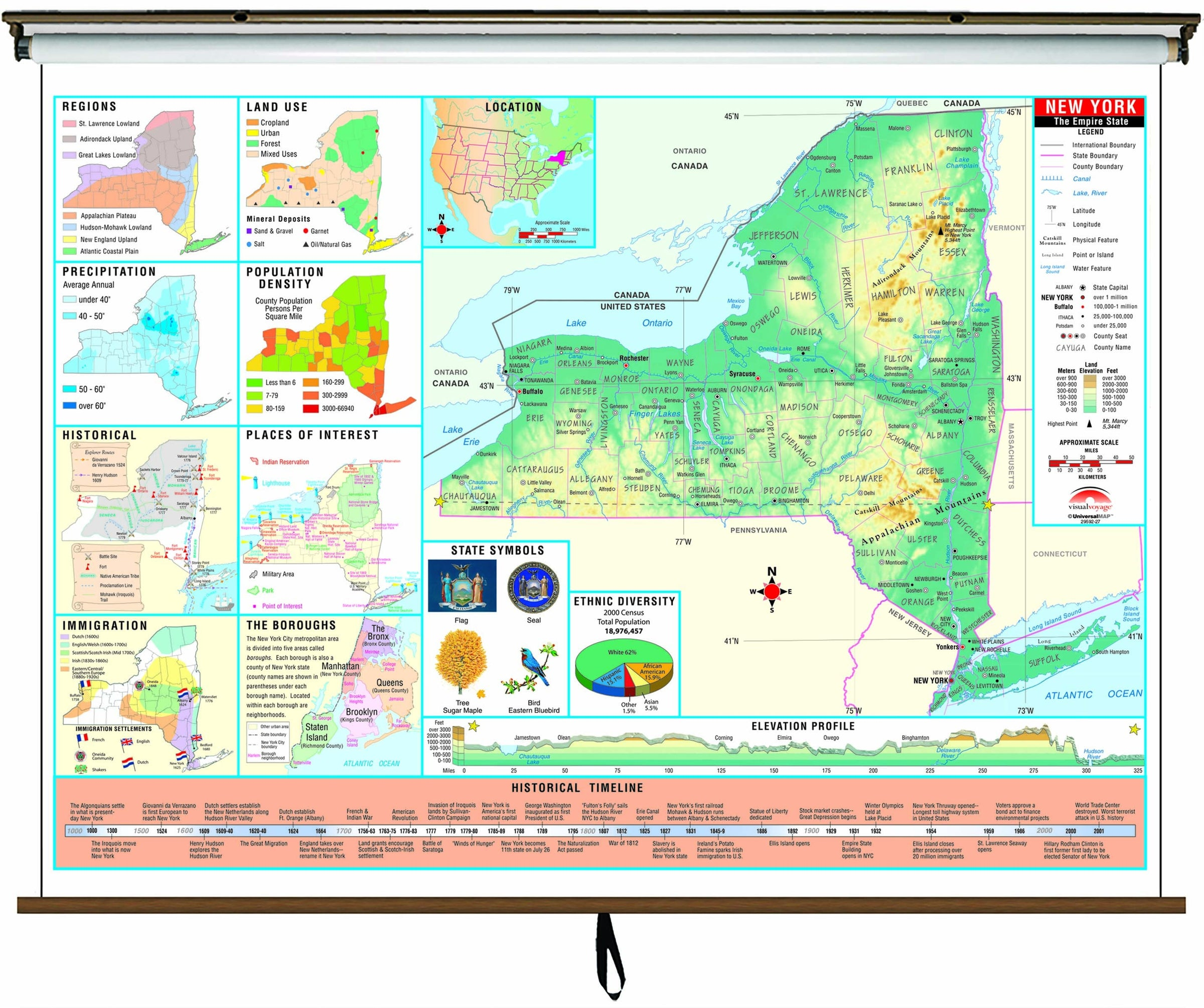 New York State Intermediate Thematic Wall Map on Roller w/ Backboard