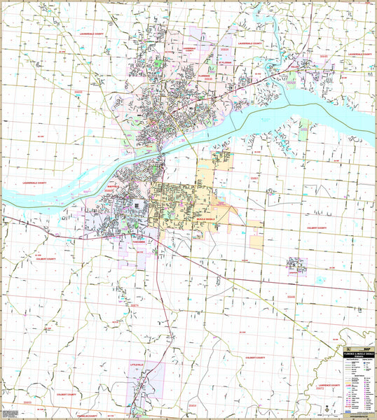 Florence & Muscle Shoals, AL Wall Map