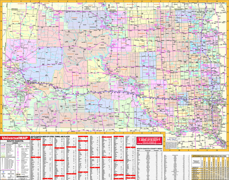 South Dakota State Wall Map