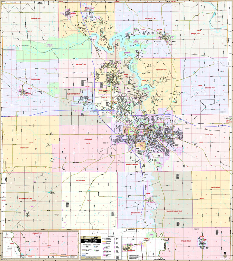 Iowa City, / Johnson Co., IA Wall Map