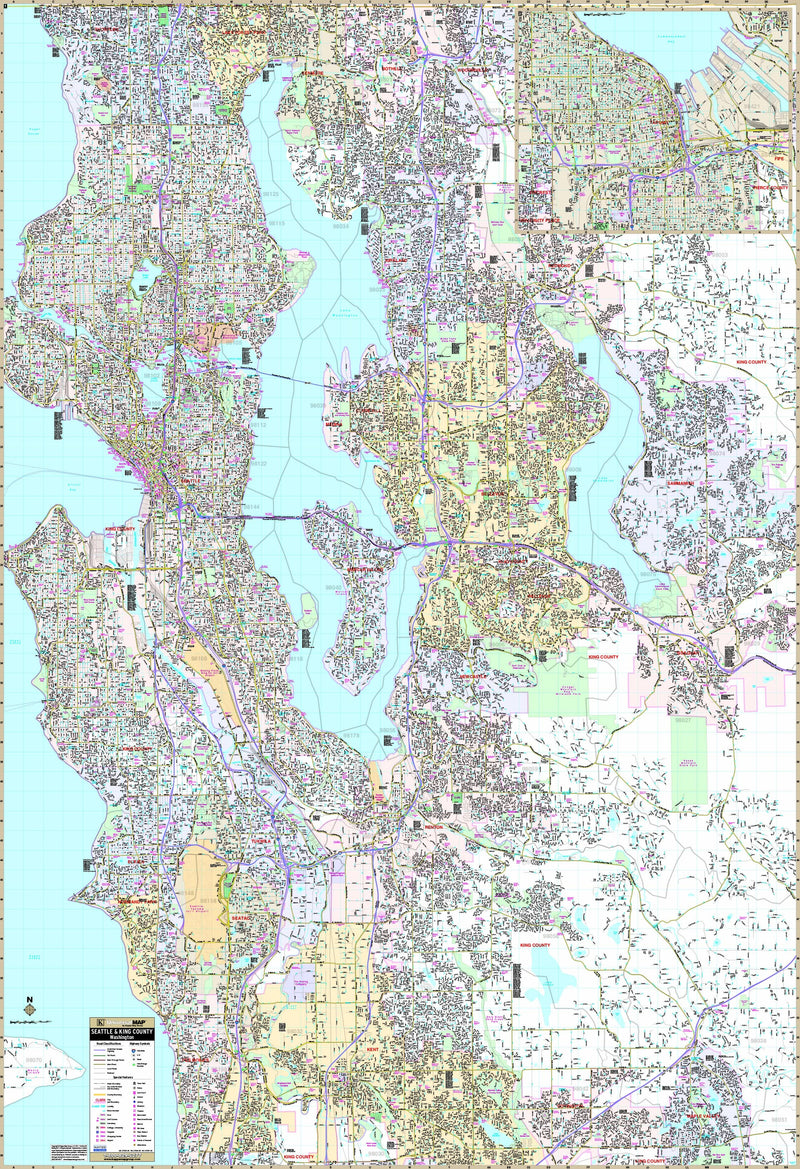 Seattle, WA Wall Map