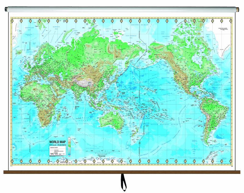 World Advanced Physical Classroom Wall Map on Roller