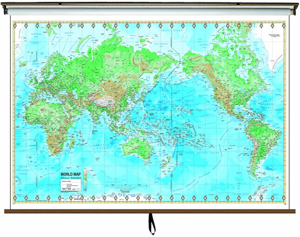 World Advanced Physical Classroom Wall Map on Roller w/ Backboard