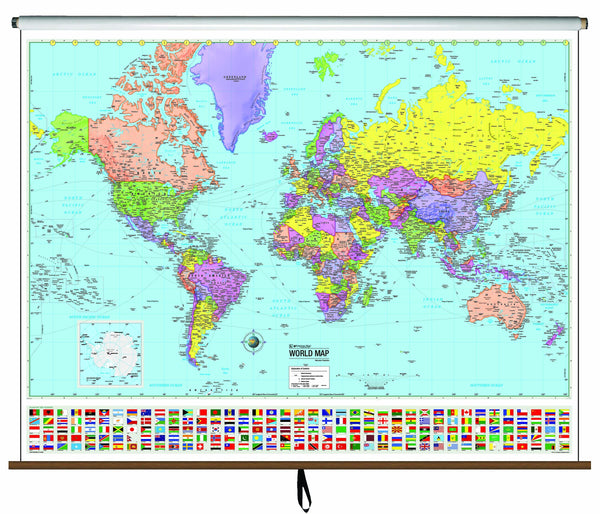 World Advanced Political Classroom Wall Map on Roller