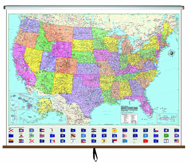 US Advanced Political Wall Map on Roller