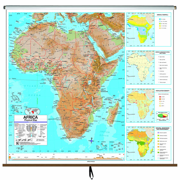 Africa Advanced Physical Classroom Wall Map on Roller