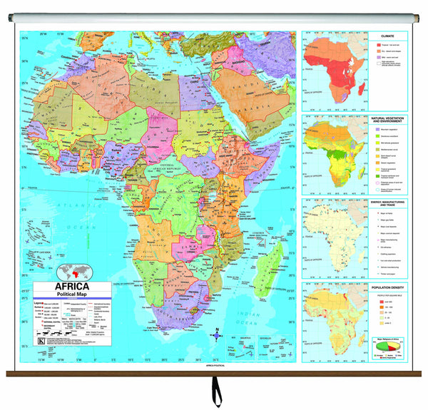 Africa Advanced Political Classroom Wall Map on Roller