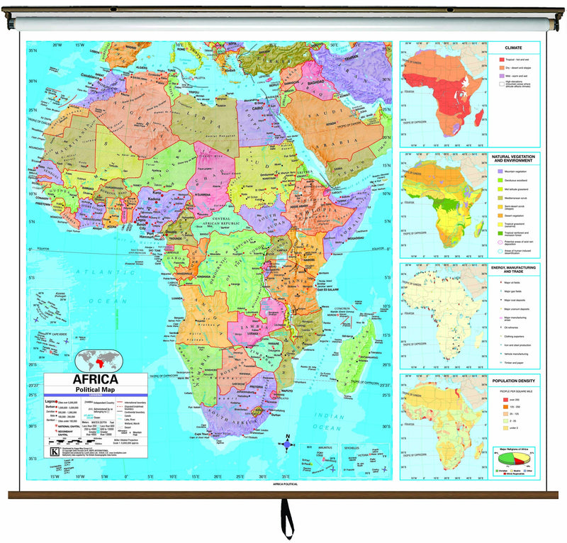 Africa Advanced Political Classroom Wall Map on Roller w/ Backboard