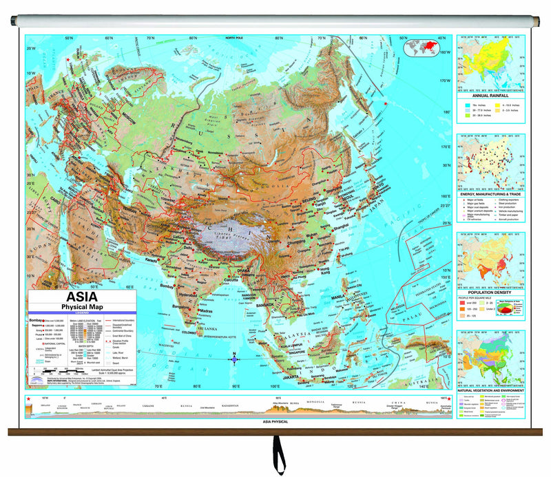 Asia Advanced Physical Classroom Wall Map on Roller