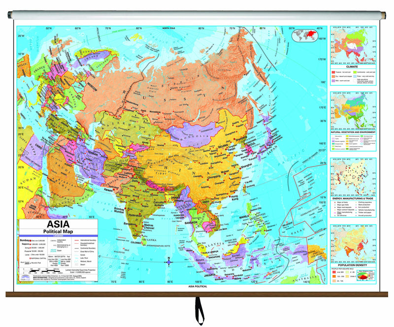 Asia Advanced Political Classroom Wall Map on Roller