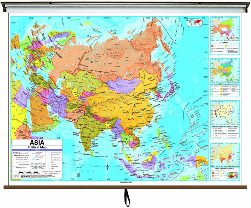 Asia Advanced Political Classroom Wall Map on Roller w/ Backboard