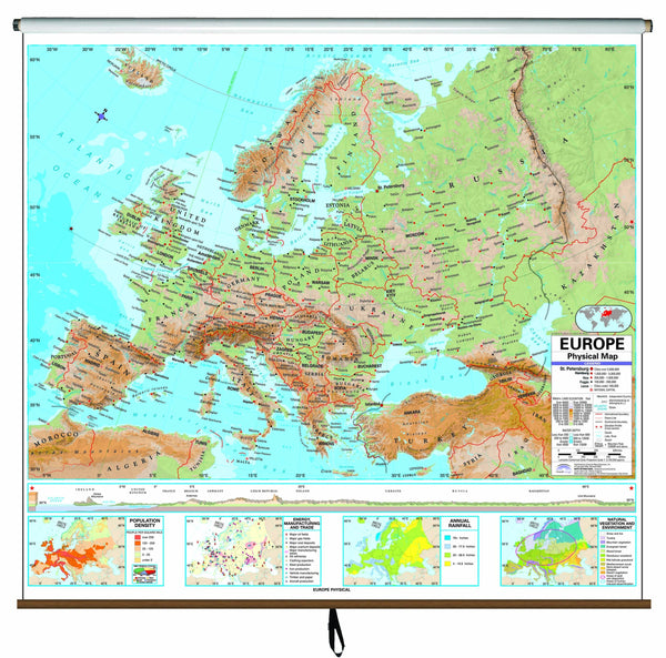 Europe Advanced Physical Classroom Wall Map on Roller