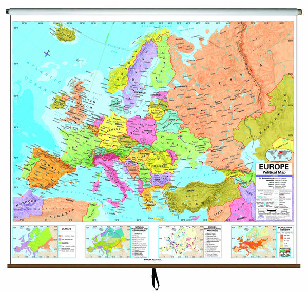 Europe Advanced Political Classroom Wall Map on Roller
