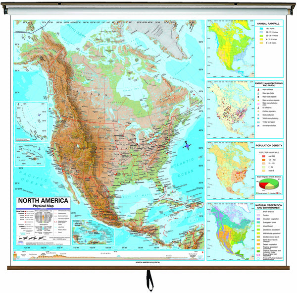 North America Advanced Physical Classroom Wall Map on Roller w/ Backboard