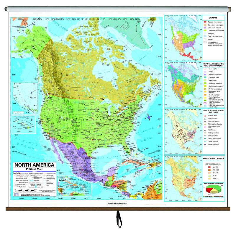 North America Advanced Political Classroom Wall Map on Roller