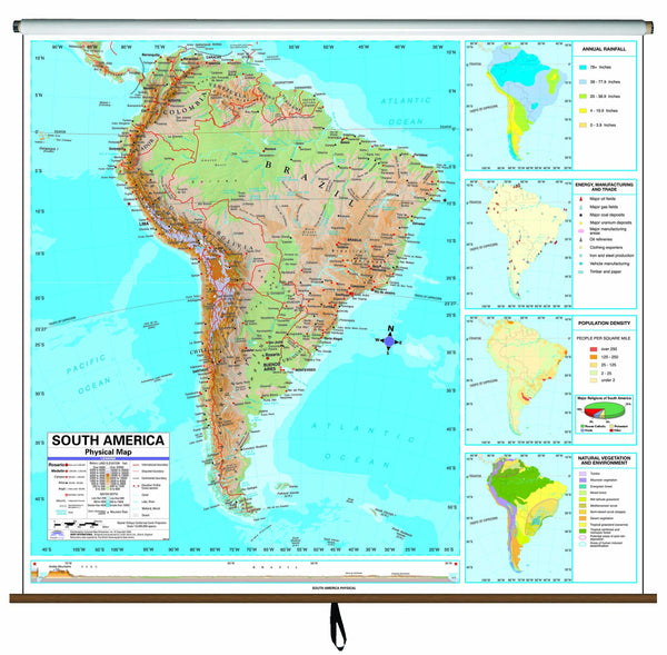 South America Advanced Physical Classroom Wall Map on Roller