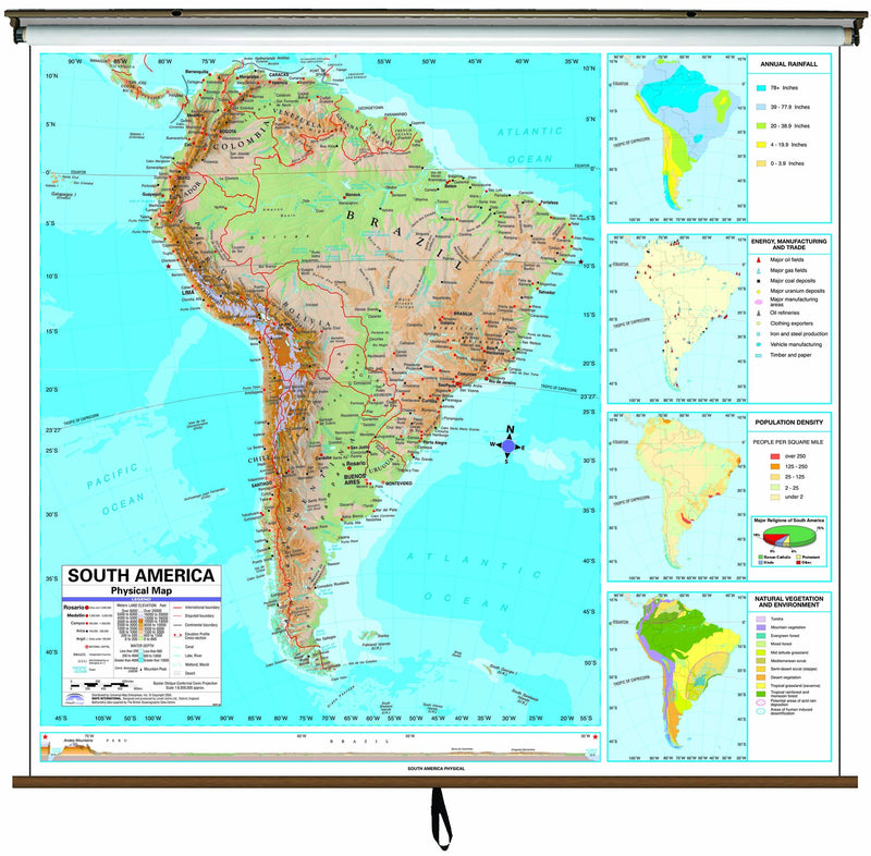 South America Advanced Physical Classroom Wall Map on Roller w/ Backboard