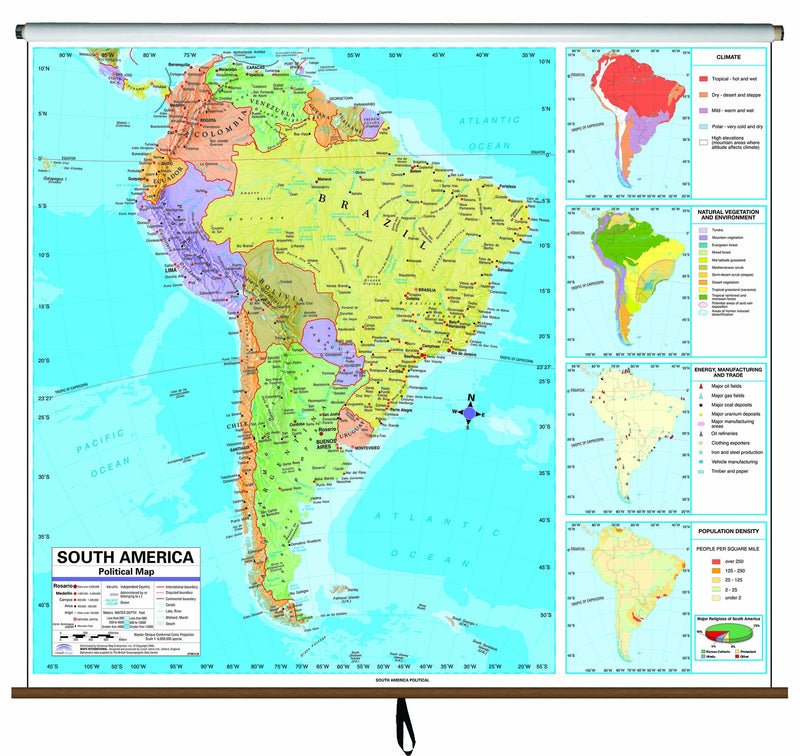 South America Advanced Political Classroom Wall Map on Roller