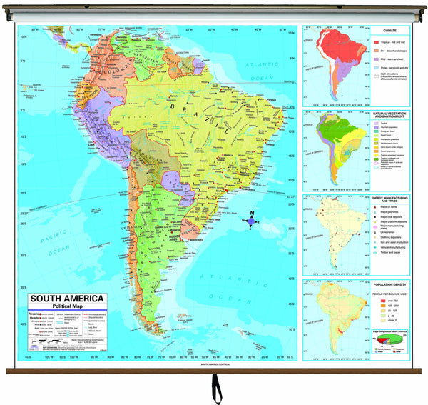 South America Advanced Political Classroom Wall Map on Roller w/ Backboard
